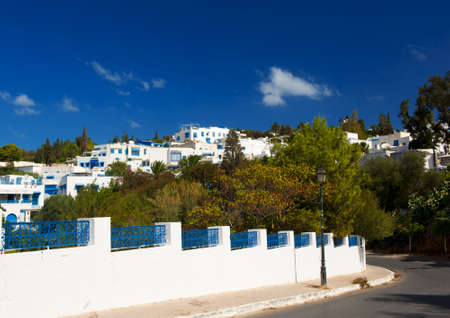 Old Tunisian town Sidi Bou Said is today a luxury quarter of the capital Tunis. Sidi Bou Said is known for blue and white colors. Many famous films were taken here. Stock Photo - 17162048