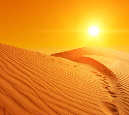 high desert: Beautiful sunset over the sand dunes in the Sahara desert, Tunisia