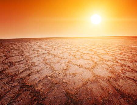 Beautiful dramatic sunrise over great dried-up salt lake Chott el Djerid in Tunisia Stock Photo - 17162091