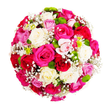 Beautiful ornamental wreath in the shape of sphere made of natural multicolored roses isolated on white photo