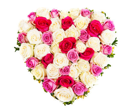 Beautiful ornamental wreath in the shape of heart made of natural multicolored roses isolated on white Stock Photo - 17161820