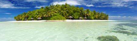 Beautiful Maldivian atoll with white beach seen from the sea.Panorama Stock Photo - 17162040