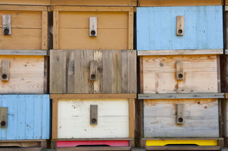 apiarist: Detail of brand new multicolored wooden beehive boxes