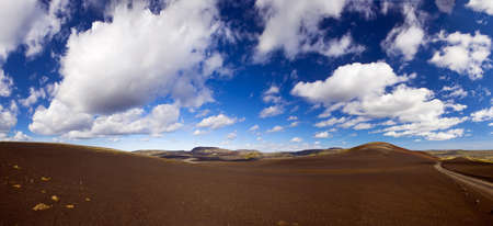 approx: Panoramic landscape at Lakagigar, volcanic area with approx. 130 craters around the volcano Laki, southern Iceland