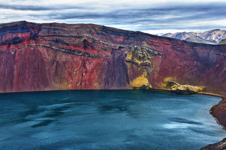 crater highlands: Detail of the Ljotipollur lake in the crater of volcano in Landmannalaugar, Highlands of Iceland