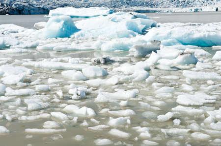 fjallsarlon: Beautiful photo of Fjallsarlon Glacial lake full of floating icebergs near the Fjallsjokull glacier Stock Photo