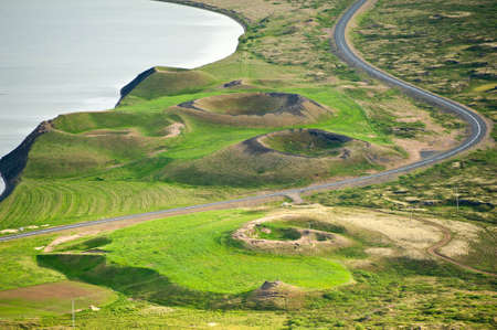 caldera: View at pseudocraters from the Vindbelgur volcano near the lake Myvatn - northern Iceland Stock Photo
