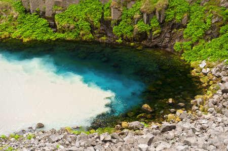 afflux: Eau de source claire et propre de la montagne est m�lang� avec de l'eau sale de la rivi�re sauvage glaciaire Jokulsa un Fj�llum en Islande
