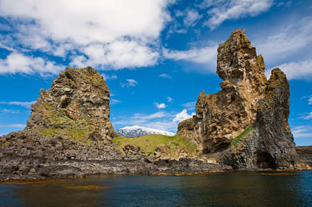 allow: Two major basalt formations at Londrangar allow framing glacier Snaefellsjokull between the columns. Snaefellsness peninsula, Icelnad Stock Photo