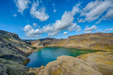 crater lake: Viti is a beautiful crater lake of a turquoise color located at Laki on the South of Iceland, HDR. Stock Photo