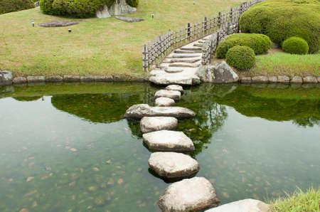 meditaion: Zen stone path in a Japanese Garden