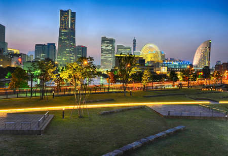 theme parks: Evening photo of Yokohama downtown. Japan, HDR photo