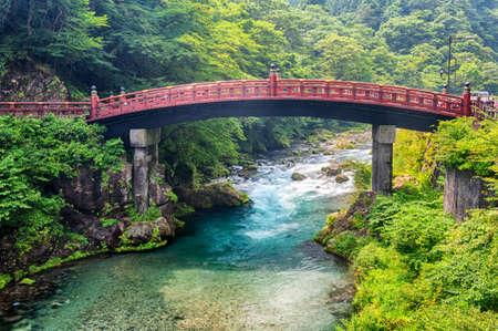 Red sacred bridge Shinkyo in site of Nikko, Japan  photo