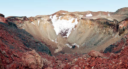 gravelly: Wide panoramic photo of the crater of the Mt. Fuji, Japan Stock Photo
