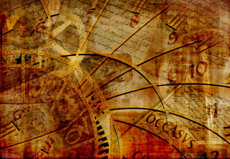 Grungy design with mysterious time machines, clock and old letters composition in warm tone Standard-Bild
