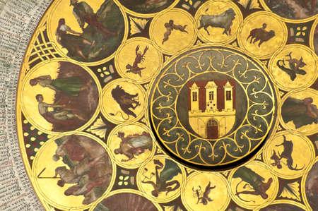 reloj de sol: Detalle de un reloj astron?mico de Praga en la Rep?blica Checa - Zodiac.