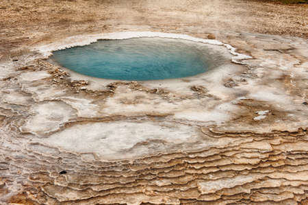 thermal spring: Incredibly blue small pool at Hveravellir is actually a hot geothermal spring in the heart of Iceland.  Stock Photo