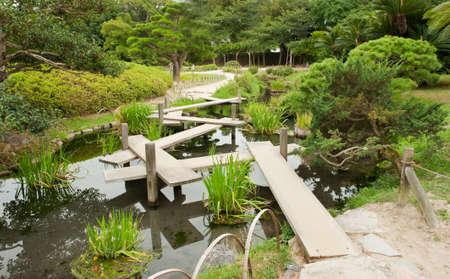 meditaion: Zen wooden path in a Japanese Garden