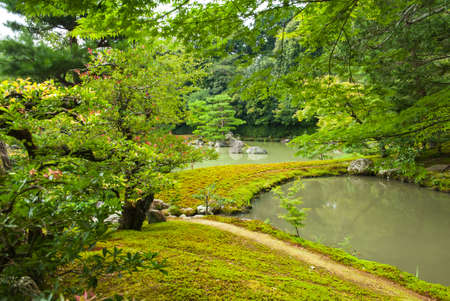 Zen Garden with lotus leaves and a pond in Kyoto, Japan photo