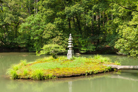 meditaion: Small shrine in a garden in a pond in Kyoto, Japan