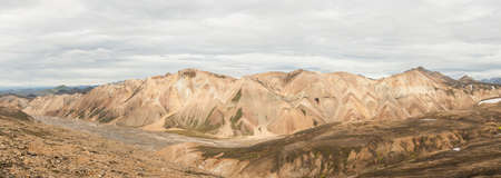 Beautiful multicolored mountains at Landmannalaugar, Iceland. Panoramic photo photo