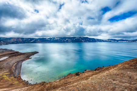 crater highlands: Oskjuvatn lake is the second deepest lake on the Iceland and is located in the caldera of the volcano Askja Stock Photo