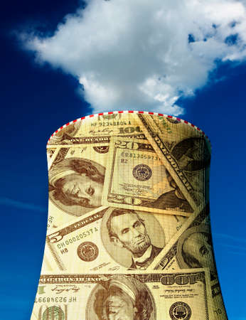 nuclear plant: Smoking nuclear power plant is covered in dollar banknotes Stock Photo