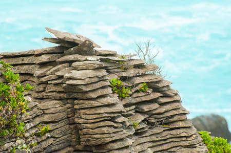 rock strata: Detail of pancake rock in Punakaiki, Paparoa national park, New Zealand