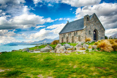 Old Church of the Good Shepherd at lake Tekapo, New Zealand photo