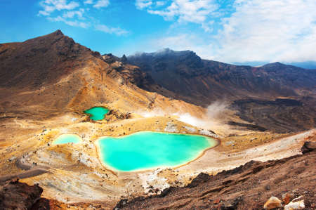 View at beautiful Emerald lakes on Tongariro Crossing track, Tongariro National Park, New Zealand Stock Photo