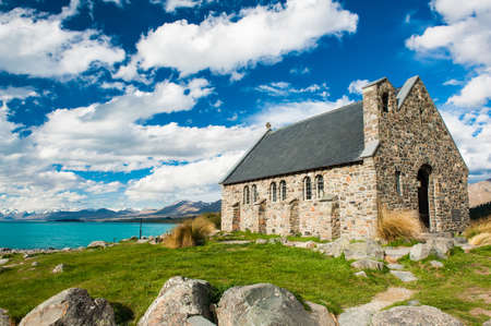 Old Church of the Good Shepherd at lake Tekapo, New Zealand photo