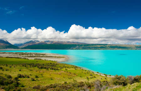 Beautiful incredibly blue lake Pukaki at New Zealand photo