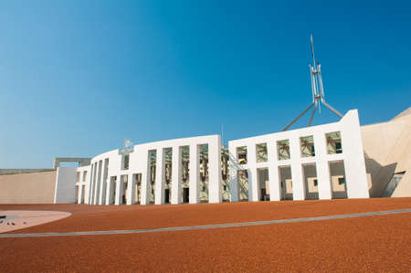 houses of parliament: Main entrance to the Parliament of Australia, Canberra Stock Photo