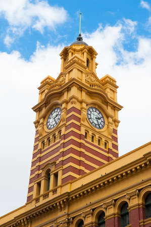 famous building: Flinders Street Station is a famous building from 1909 in Melbourne, Australia Stock Photo