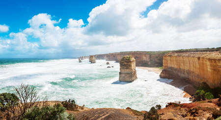 natural landmark: Twelve Apostles, natural landmark near the Great Ocean Road. Victoria, Australia. Panoramic photo