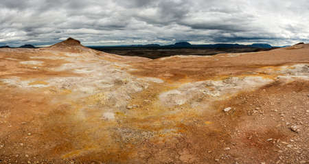 the stinking: View from the top of the Namafjall, the vivid volcanic mountain, at the lake Myvatn, Iceland