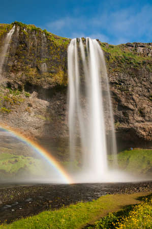 Seljalandsfoss is one of the most beautiful waterfalls on the Iceland. It is located on the South of the island. With a rainbow