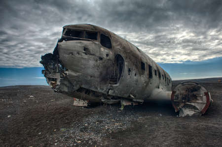 Wreck of a US military plane crashed in the middle of the nowhere.  Stock Photo