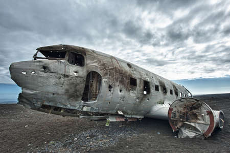 old plane: Wreck of a US military plane crashed in the middle of the nowhere.  Stock Photo
