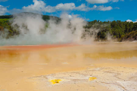 Unique vivid spring Artist's Palette in Wai-O-Tapu geothermal area, Rotorua, New Zealand photo