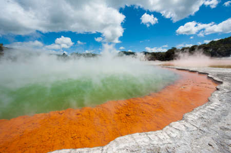 hydrothermal: Unique steaming spring champagne pool in Wai-O-Tapu geothermal area, Rotorua, New Zealand