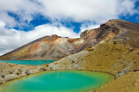 View at beautiful Emerald lakes on Tongariro Crossing track, Tongariro National Park, New Zealand photo