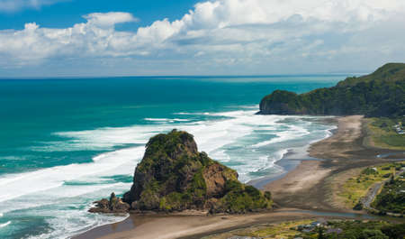west coast: Beautiful Piha beach near Auckland with a mighty Lion Rock, New Zealand
