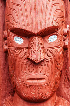 Beautiful maori carving. Rotorua, New Zealand photo
