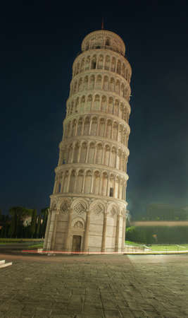 Famous leaning Tower of Pisa in Italy in night photo