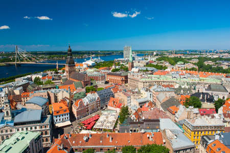 View at Riga from the tower of Saint Peter's Church, Latvia Standard-Bild