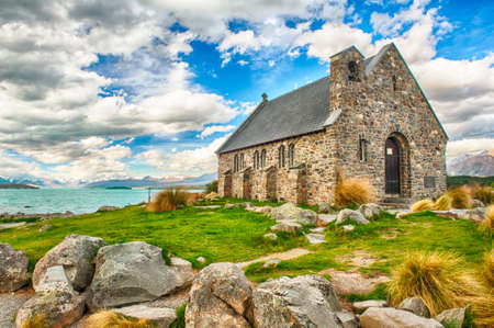 Old Church of the Good Shepherd at lake Tekapo, New Zealand  Banco de Imagens