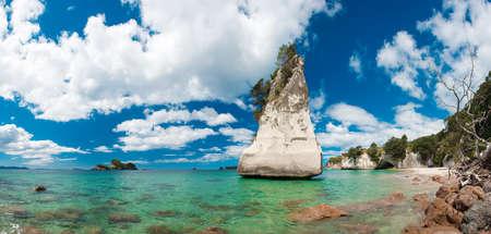 Beautiful Te Hoho Rock at Cathedral Cove Marine Reserve, Coromandel Peninsula, New Zealand. Panoramic photo,  photo