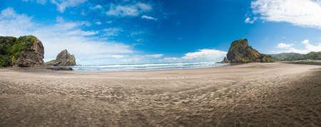 new zealand beach: Beautiful Piha beach near Auckland with a mighty Lion Rock, New Zealand. Panoramic photo Stock Photo