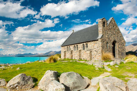 good shepherd: Old Church of the Good Shepherd at lake Tekapo, New Zealand  Stock Photo
